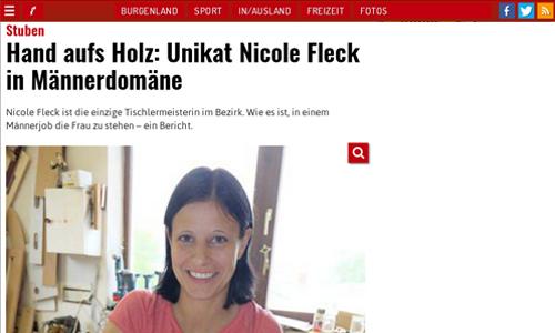 Hand aufs Holz: Unikat Nicole Fleck in Männerdomäne